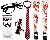 Déguisement de lycéenne zombie avec une paire de lunette + collant ensanglanté + peinture pour le visage blanche + faux sang + une cravate noire et rose. Ideal pour les fêtes d'Halloween.