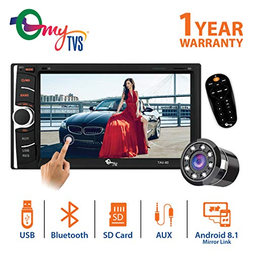 "myTVS 6.2"" Car Double Din Multimedia Player FullHD/MP3/MP5/USB Stereo & Mirror Link with Dual Display Support with 8 LED Night Vision Rear View Parking Camera for All Cars"
