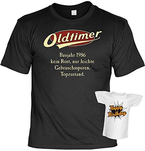 Fun T-Shirt - Geburtstagsgeschenk - Oldtimer - Baujahr 1986 - Im SET mit Mini T-Shirt - Schwarz Schwarz