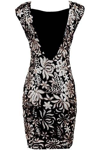 Saphir Femmes Gris Paillettes Noires Célébrité Motif Fleur Femme Sexy Bodydon Robe Soirée Noir