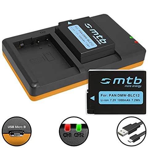 2 Akkus + Dual-Ladegerät (USB) für Panasonic DMW-BLC12 / Lumix DMC-G5, G6, G70, G81, GH2, GX8, FZ2000.. / Sigma dp0/1/2/3 quattro - s. Liste (inkl. Micro-USB-Kabel)