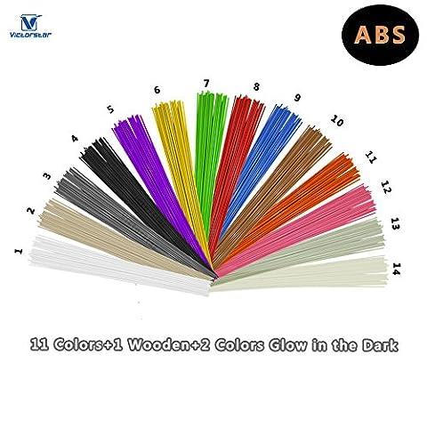 3D Pen Filament Refills ABS - VICTORSTAR 14 Colors, 140 Meters (459.2ft) / Stick Straight (10 Straight Modello)