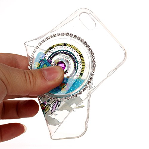 Etui iPhone 5C, SpiritSun Glitter Liquide Etui Coque TPU Slim Bumper pour Apple iPhone 5C Etoiles Paillettes Sable Souple Housse de Protection Flexible Soft Case Cas Couverture Anti Choc Mince Légère  Vert