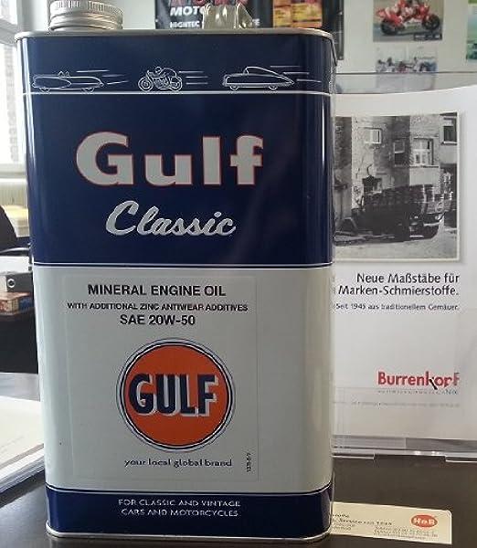 Gulf Classic 20w 50 5ltr Blechkanister Motoröl Für Oldtimer Auto