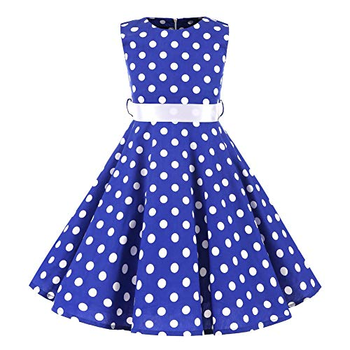 YFCH Kinder Mädchen 1950er Vintage Print Abendkleid Rockabilly Kleid Retro Cocktailkleid Faltenrock Knielang, Weiß Rundpunkt auf Blau mit Weiß Gürtel, 134/140(Label: L/140) -