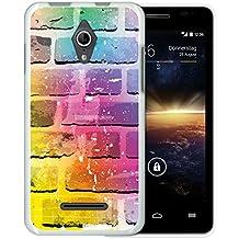 Funda Vodafone Smart 4 Turbo, WoowCase [ Vodafone Smart 4 Turbo ] Funda Silicona Gel Flexible Pared de Ladrillo Multicolor, Carcasa Case TPU Silicona - Blanco
