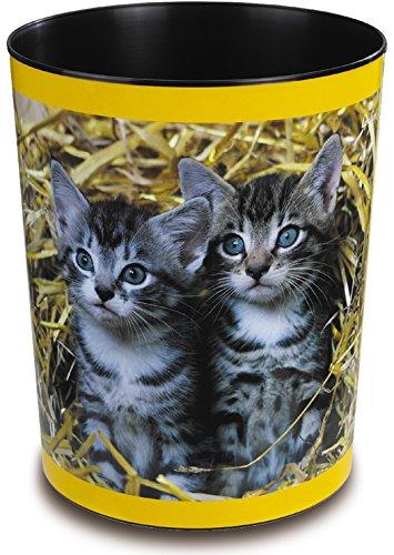 Läufer 26654 Motiv-Papierkorb Katzen im Stroh, 13 Liter Mülleimer, perfekt für das Kinderzimmer, rund, stabiler Kunststoff