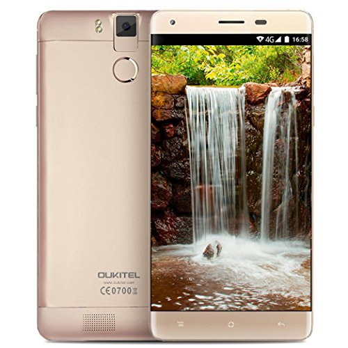 Oukitel K6000 Pro Fingerprint Unlock Smartphone 4G Lte Android 6.0 Quad Core 5.5 Inches 3GB RAM 32GB ROM Dual Camera Mobile Cell Phone Gold