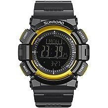 SUNROAD FR820B Munfunction Men Outdoor Sports Casual Watch LCD Display Waterproof Altimeter Compass Stopwatch Barometer Pedometer PU Watchband