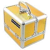DynaSun ALU Design Beautycase Schmuckfach Schminkkoffer Kosmetikkoffer, 22 cm, Gold