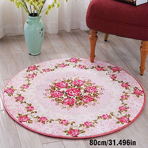 LIYANJIN Teppiche, Klassische grüne und rosa runde Teppich, Nordic Simple Fashion Runde rutschfeste Matte Balkon Wohnzimmer Kaffee Schlafzimmer Tisch Teppich,Pink,80 * 80cm - Grüner-kaffee-tisch