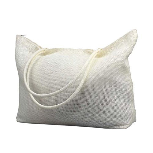 Vovotrade® Le donne di colore della caramella borsa da spiaggia a tracolla grande paglia (Nero) Bianco