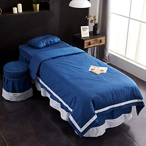 KE & LE Microfibre Ensemble de draps Table de Massage, 4 pièces Premium Soin du Visage Couverture de lit Plat Et Draps-Housses avec Visage Couverture de Berceau Personnalisable -B 185x70cm