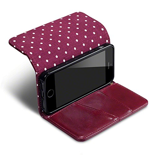 TERRAPIN Coque Cuir iPhone SE, Étui Housse Portefeuille Avec Polka Dot Intérieur Pour iPhone SE Housse - Rouge La Femme Designer