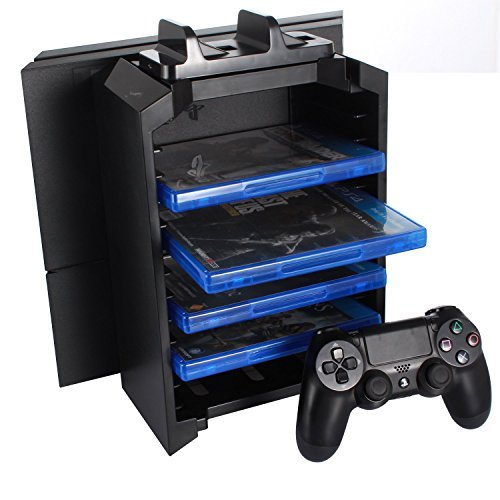 KONKY - PS4 / PS4 Slim / Pro Konsole Vertikaler Stand, Playstation 4 Dual Controller Ladestation Dock & PS4 Videospiele DVD Blu Ray Storage Tower (Blu-ray-storage-tower)