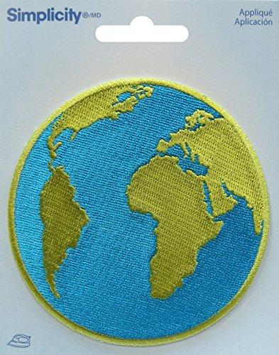 Simplicity Erde/Globus Eisen auf Aufnäher, Polyester, Mehrfarbig, 10.31X 12,4x 0,2cm