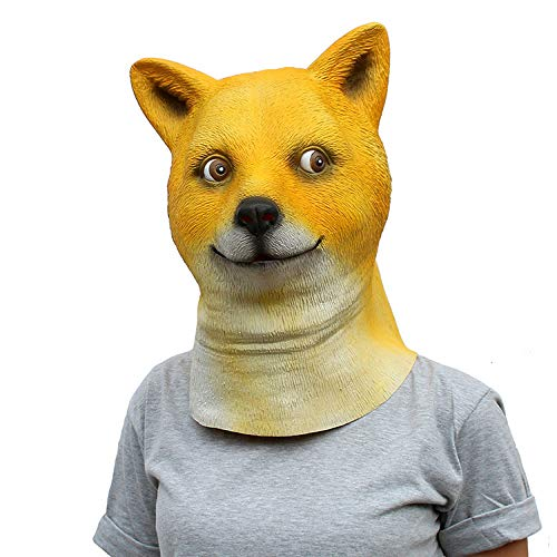 MIANJU Máscara De Halloween Máscara Shiba Inu Máscara De Halloween Cubierta De La Cabeza De Látex Máscara De Crazy Animal City Máscara De Fiesta De Máscaras