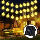 Solar Lichterkette, 30er LED Solar Lichterkette 8 Modi IP65 Wasserdicht Garten Lichterkette Dekoration Beleuchtung Kugel für Außen, Indoor Gärten, Rasen, Weihnachten Party - 6M, Warmweiß