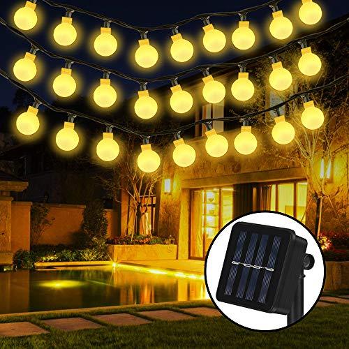Solar Lichterkette, Nasharia 30er LED Solar Lichterkette 8 Modi IP65 Wasserdicht Garten Lichterkette Dekoration Beleuchtung Kugel für Außen, Indoor Gärten, Rasen, Weihnachten Party - 6M, Warmweiß - Extreme-garten
