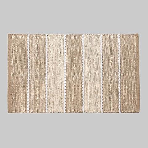 Dormitorio MOREY algodón hecho a mano Colchón puerta Mat puerta de la sala Cama borde del colchón otomanos geométricas simples (beige) ( Tamaño : 80*115CM