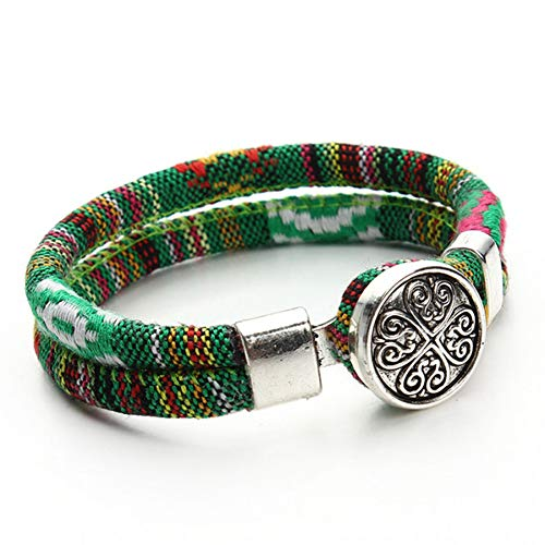 XIHUANA Bohemian Snap Button Bracelet Multicolor Cotton Cords Tibetan Silver Color Ethnic Charm Flower Boho Bracelet Button Flower Cord