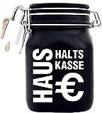 Haushalts-Kasse XXL-Spardose mit Vorhängeschloss in Weiss/Geld-Geschenk Idee XXL Sparbüchse Glas Geldgeschenk