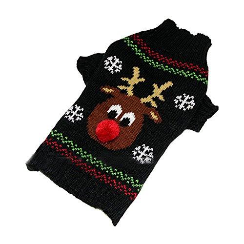 Silvercell Hund Katze Deer Weihnachten Kleidung Winter Pullover Strick Pullover (Pet Katzen Outfits Für)