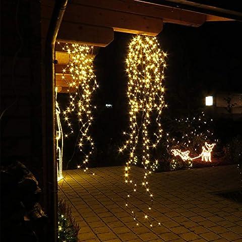 Branches lumineuses marron Saule pleureur 1,8 m 365 LED blanc chaud - Guirlande lumineuse de Noël de
