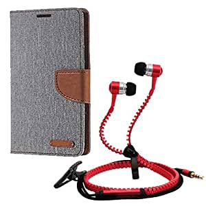 Aart Fancy Wallet Dairy Jeans Flip Case Cover for LenovoA-6000 (Grey) + Zipper Earphones/Hands free With Mic *Stylish Design* for all Mobiles- computers & laptops By Aart Store.