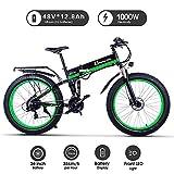 Shengmilo Bici elettriche 26 Pollici, Bici elettrica piegante di Montagna, Bici elettrica della Batteria 1000W 48V13ah E-Bike, Bicicletta elettrica degli Uomini delle Donne (Verde)