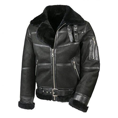 Hollert German Leather Fashion Bomberjacke - B16 Herren Lammfelljacke Winterjacke Größe 3XL, Farbe Model 7 - Schwarz