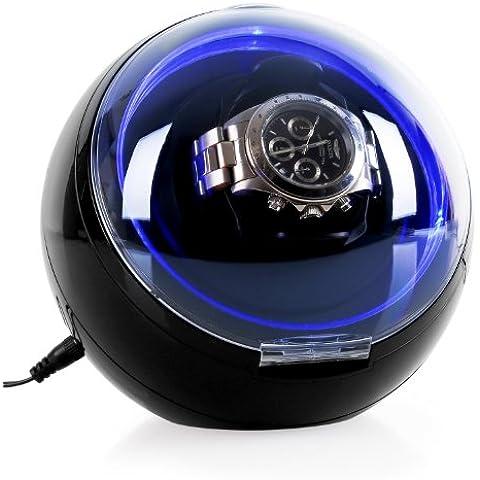 Klarstein St.Gallen caja para relojes (capacidad para un reloj, compacto, 4 programas de rotación, motor silencioso, iluminación LED azul) -