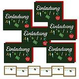 AIdeas ♥ 6 Einladungskarten Einschulung Schulanfang Schulbeginn 1. Schultag / Einladungen ABC-Schütze Mädchen ♥ + 1 Haarschmuck-Set je 2 Paar Glitzer Haarspangen von Name it