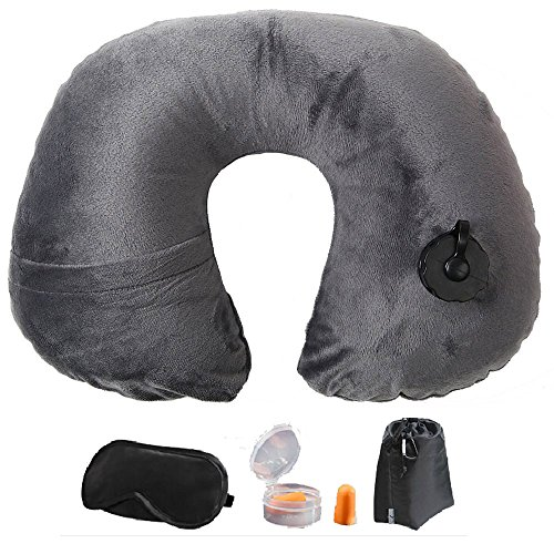 3 in 1 cuscino gonfiabile da viaggio per collo + mascherina di occhi kit doppio rivestimento poggiatesta -- solo 3 secondi per gonfiamento, griglio
