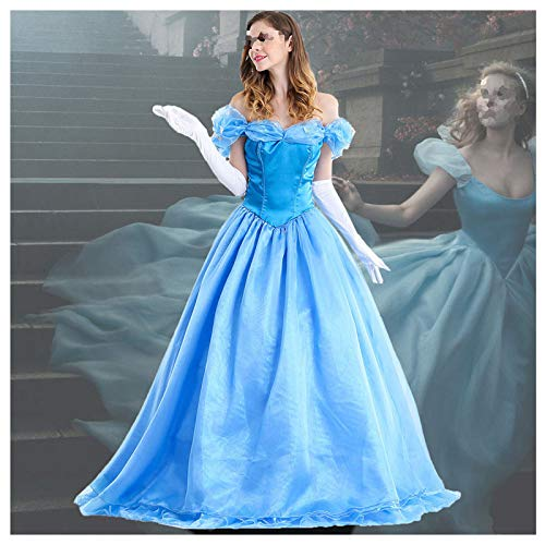 POIUYT Halloween Cosplay Blue Dress Adult Cinderella Prinzessin Kleid Film Fairy Christmas Kostümfest Tutu Lieferumfang: Langer Rock + Handschuhe + Rock,Blue-L
