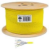 HB Digital Netzwerkkabel LAN Verlegekabel Cabel 500m cat 7 Kupfer S/FTP PIMF LSZH Halogenfrei gelb RoHS-Compliant cat. 7 AWG 23/1