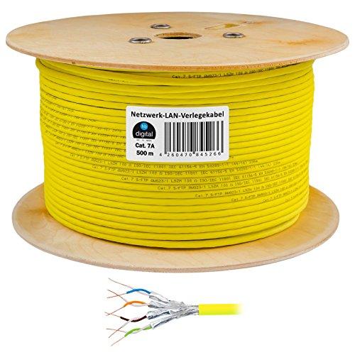 HB Digital Netzwerkkabel LAN Verlegekabel Cabel 500m cat 7 Kupfer S/FTP PIMF LSZH Halogenfrei gelb RoHS-Compliant cat. 7 AWG 23/1 (500 Cat6-spule)