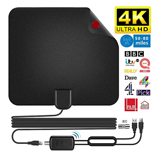 HD TV Antenna, TV Antenna DVB-T TV 50 Miles Indoor Digital Indoor HDTV with Removable Amplifier Signal Amplifier and 13FT Long Coaxial Cable, VHF / UHF / FM Compatible