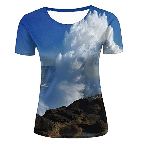 Mens Womens Casual Design 3D Printed Waves Beat The Rocks Graphic Short Sleeve Couple T-Shirts Top Tee XS (T-shirt Ringer Junior Design)