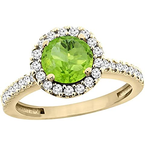 14ct oro amarillo lazulí Natural redondo del anillo de 6 mm de diamante Halo flotante, Tamaños J -