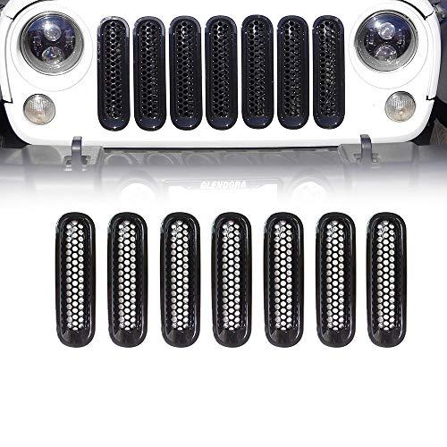 L&U Set 7 Pezzi griglia Anteriore Nera Kit Inserto griglia griglia per 2007-2017 Jeep Wrangler JK & JK Unlimited