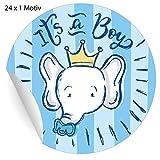 24 süße hellblaue Baby Aufkleber mit Elefant und Schnuller, MATTE Papieraufkleber für Geschenke,...