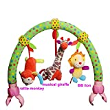 #7: Baby Grow Activity Bar for Stroller Pram Crib Musical Pram Crib Activity Bar Toys Car Seat Rattle Toy Gift for Newborn to Kids (Green)