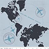 Fat Quarter Detour Flugzeug Flight Path Grau Baumwolle