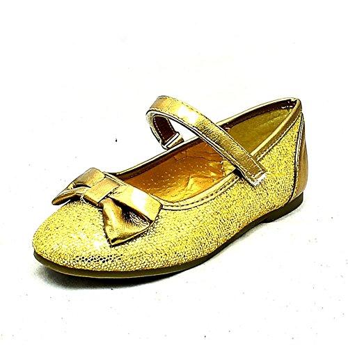 Mädchen / Kinder Sparkly Party-Schuhe mit Schleife vorn Gold
