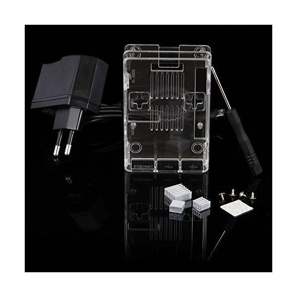 51ptv0dK4xL. SS600  - Aukru NUEVO 3-EN-1 Kit de Raspberry Pi 2 Modelo B/B + transparente Caja + 5v 2000mA alimentación + 3 conjunto del disipador de calor