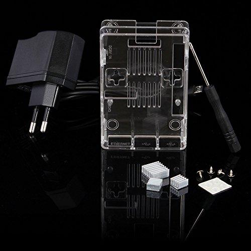 51ptv0dK4xL - Aukru NUEVO 3-EN-1 Kit de Raspberry Pi 2 Modelo B / B + transparente Caja + 5v 2000mA alimentación + 3 conjunto del disipador de calor
