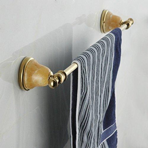 FACAIG Gold natürliche Jade Handtuchhalter Badezimmer Handtuchhalter Handtuchhalter Kupferstäbe Single Bad Zubehör NBN (Farbe: Gold)