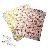 """EQLEF Papier d'emballage Alimentaire, Feuilles de Papier ciré Papier Sulfurisé avec Motif de Timbre à la Fraise Petit Papier d'emballage 9.8""""x 8.6"""" pour la Cuisson de Bonbons au Fromage -100 pcs"""
