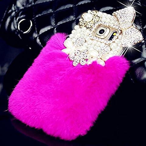 spritech (TM) Luxe 3D cristal perle fait à la main blanc Design Coque arrière avec cheveux doux fausse fourrure de lapin chaud Housse étui rigide, Color-20, Samsung Galaxy S6